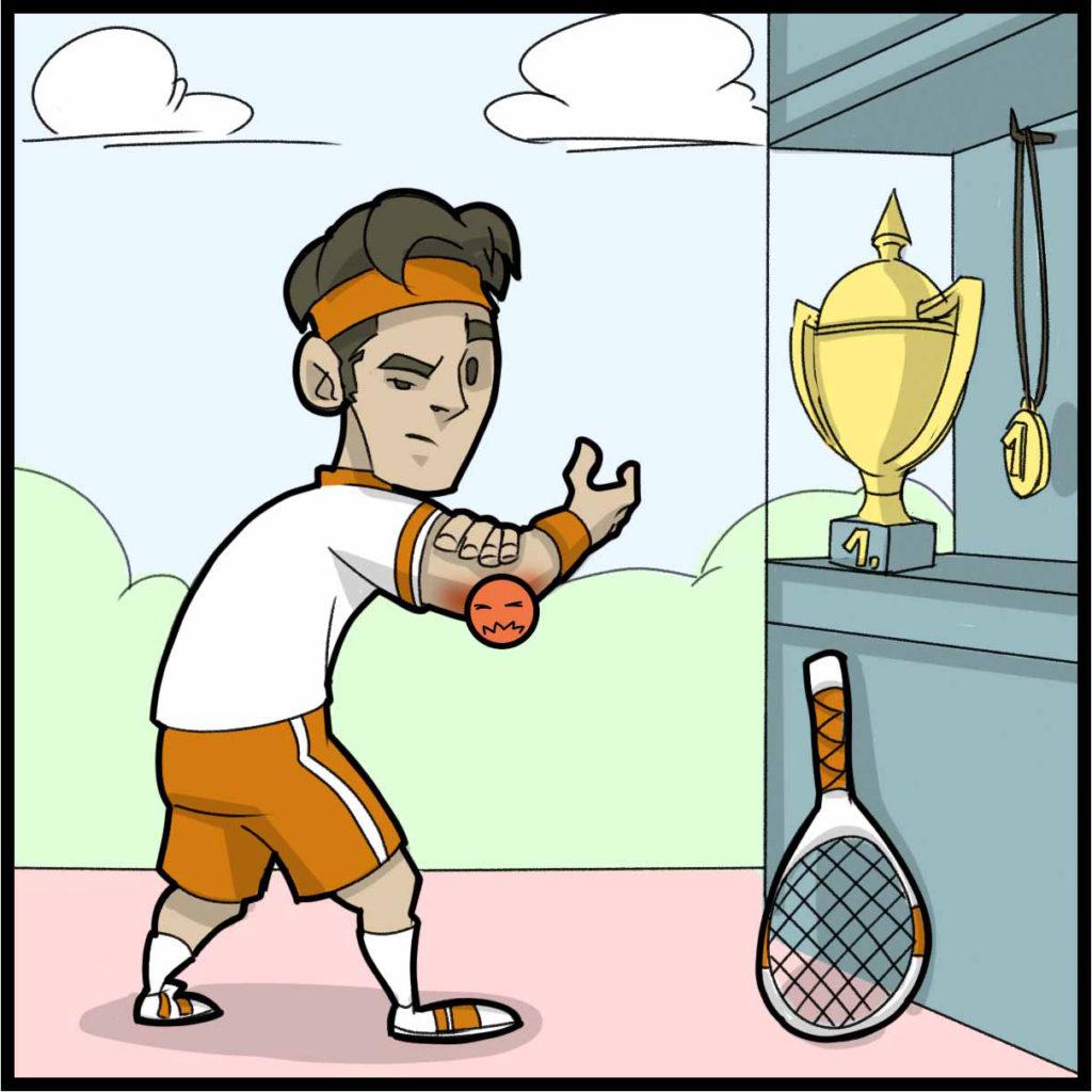 Ein Tennisspieler mit Tennisarm.