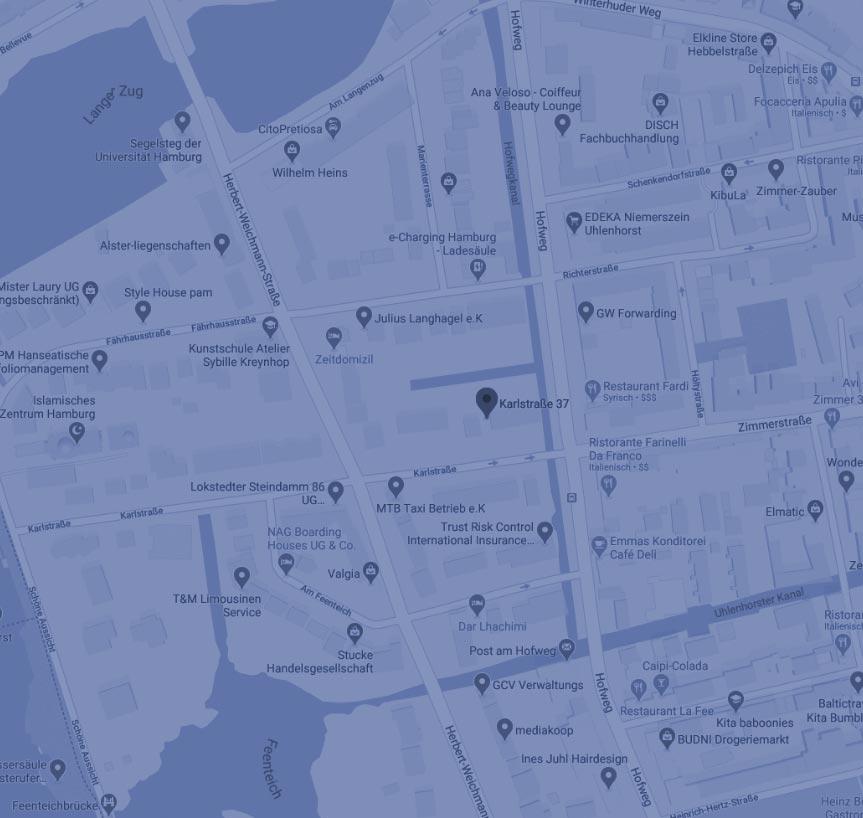 Karte der Praxis für Osteopathie in Hamburg